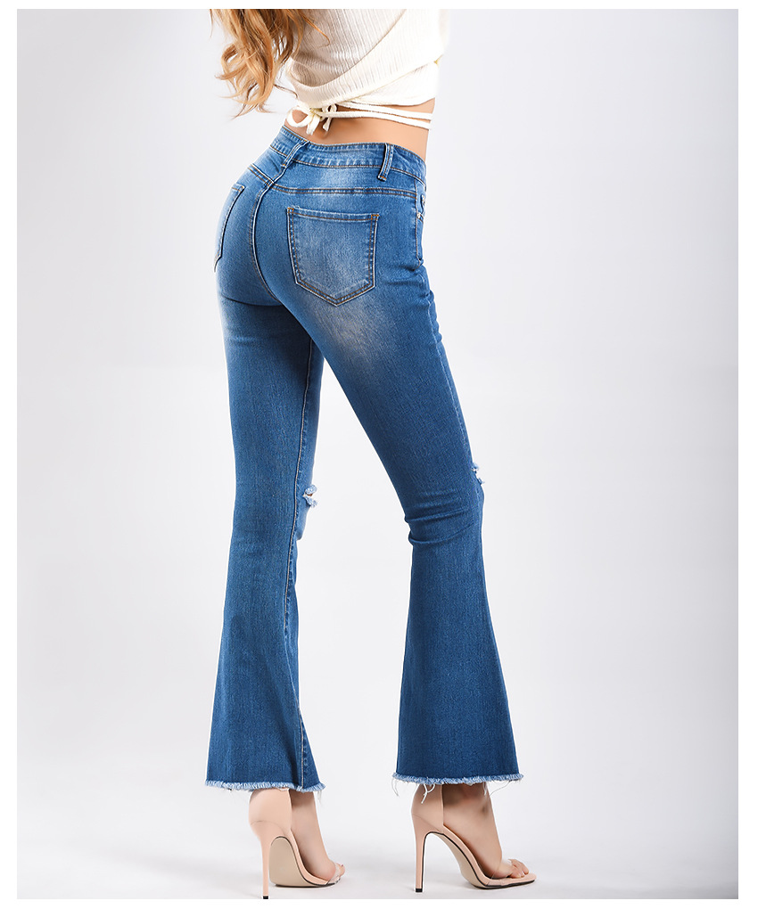 Women\`s dress of Europe and America 2018 new wide leg trousers jeans denim flared trousers women\`s worn-out edge trousers (11)