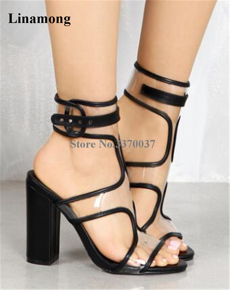 Women Summer Hottest Open Toe Transparent Chunky Heel Sandals Cut-out PVC Strap Cross Thick Heel Sandals Formal Dress Shoes fashionable women s sandals with hollow out and chunky heel design