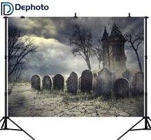 Dephoto seamless Photography Background terror cemetery Castle Halloween theme Backdrop professional photo studio