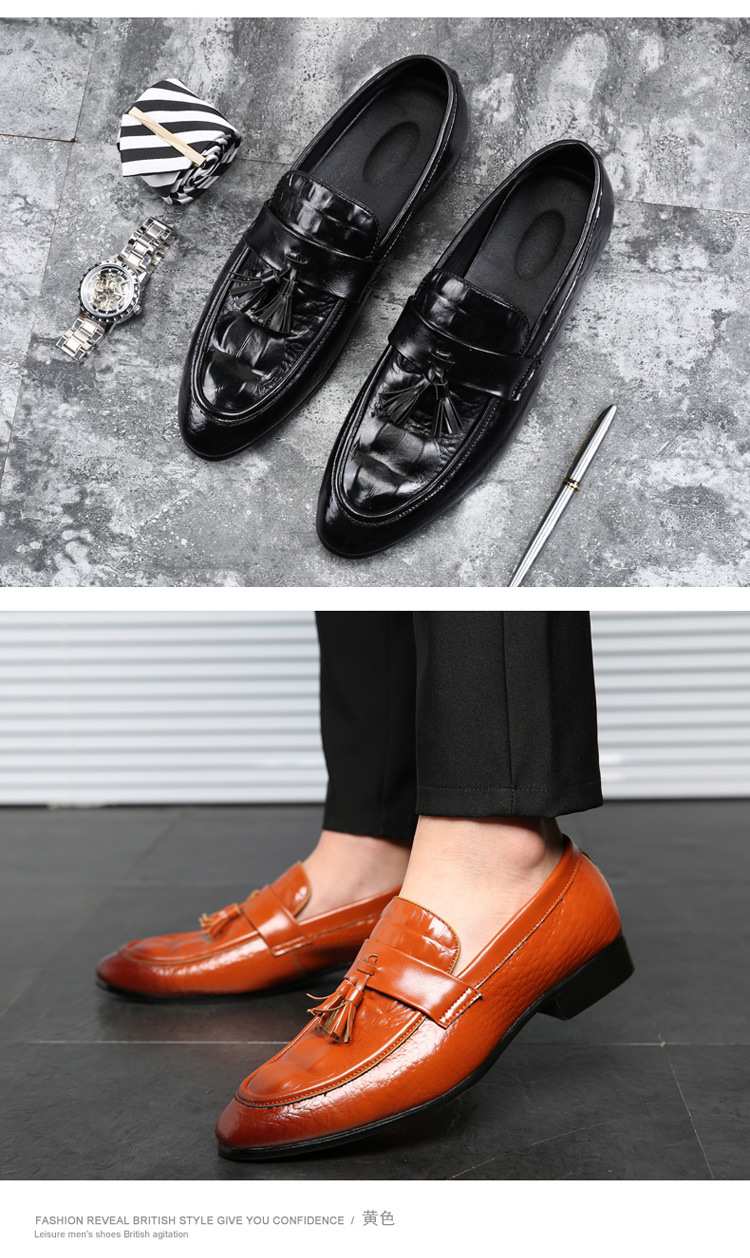 Formal Shoes Men's Shoes Conscientious Italian British Style Pointed Toe Dress Black Burgundy Runway Cow Skin Business Men Formal Wedding Shoes Loafers Office Brand