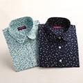 Dioufond top camisas florais blusas de linho de algodão mulheres do vintage senhoras elegantes tops de manga longa camiseta casual blusas mulheres clothing