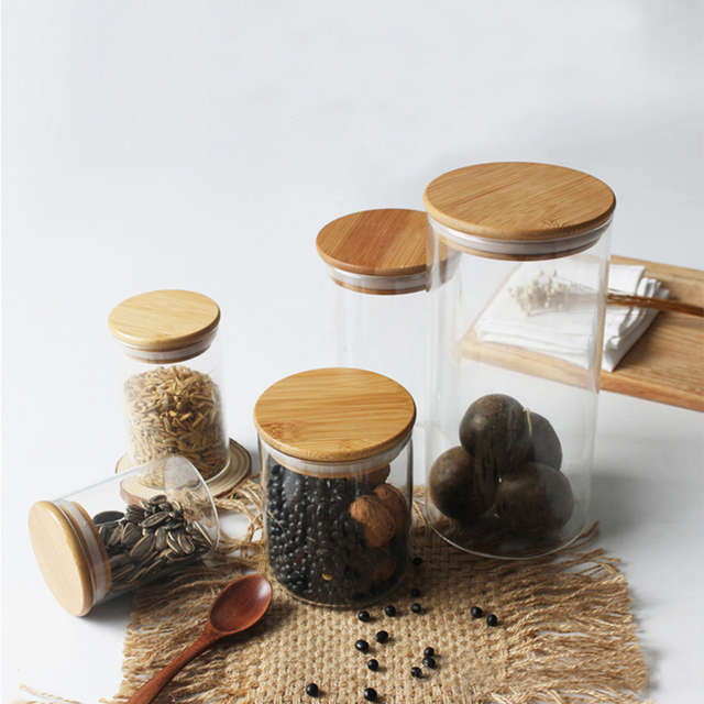 Conscious Home Reusable Glass X Bamboo Storage Jars