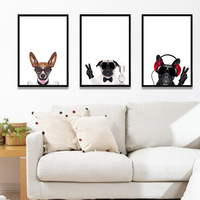 Nordic Canvas Painting Modern Home Decorative For Living Room Bedroom Murals Sofa Background Cartoon Animal Painting of Dog