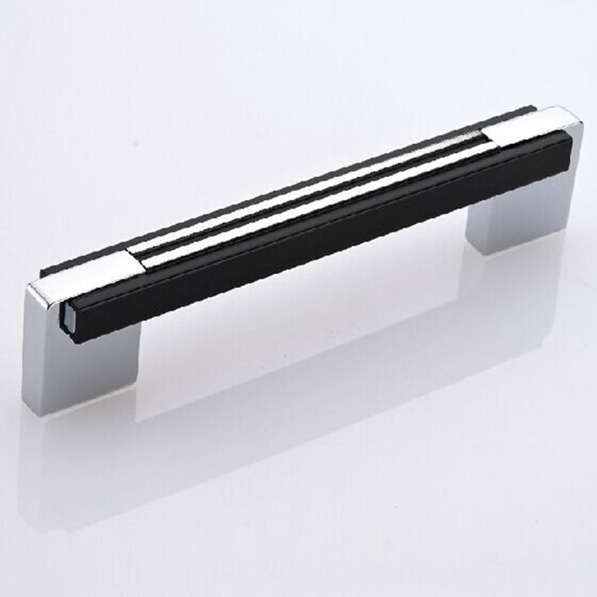 Блестящий серебряный кухонный шкаф chrome комод шкаф тянуть черный Шкаф Ящика мебели ручки 96 мм Современные Простые Мода