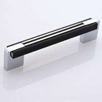 Shiny Silver Kichen Cabinet Handle Pull Chrome Dresser Cupboard Pull Black Wardrobe Drawer Furniture Knob Pull