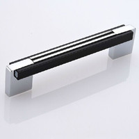 shiny silver kitchen cabinet chrome dresser cupboard pull black wardrobe drawer furniture handle 96mm modern simple fashion