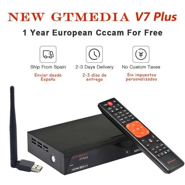 GT Media V7 Plus Satellite Receiver DVB-S2 DVB-T2 Decoder 1080P Full HD TV Receptor+1 Year Europe Spain Poland Italy cccam Cline