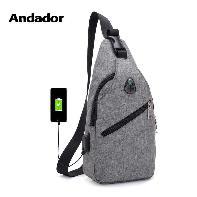 Fashion casual men chest pack single shoulder bags USB charging chest bag crossbody bags male anti theft single strap back bag bag