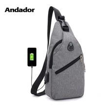 Модная повседневная мужская нагрудная сумка одно плечо сумки USB зарядки Груди Сумка сумки через плечо Мужские Защита от кражи один ремень обратно сумка