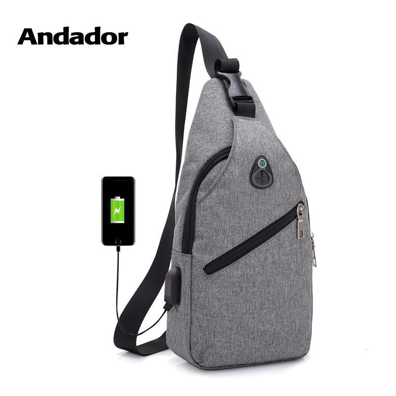 Los hombres de moda casual paquete pecho de un solo hombro bolsas de carga USB pecho bolso bandolera bolsas hombre anti robo sola correa de vuelta bolsa