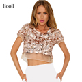 Liooil Mesh Patchwork Sequin Top 2017 Summer Short Sleeve O Neck Backless T Shirt Women Gold Black Slim Fashion Kawaii Crop Tops