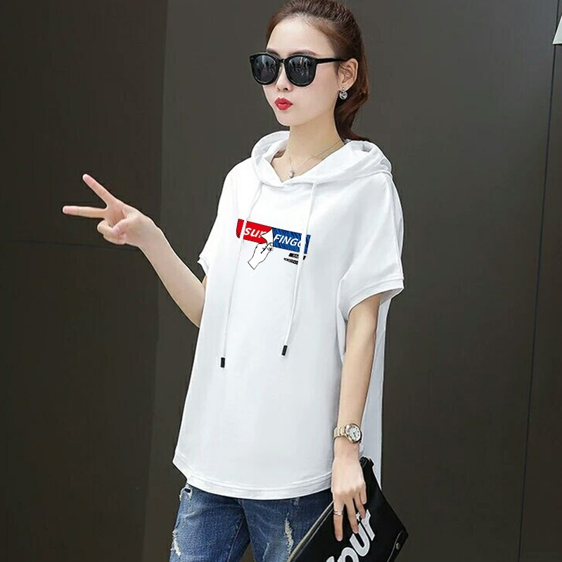 Image 5 - T shirt female 2020 new  hooded loose summer casual red white  short sleeved large size  women fashion printing t shirt  CottonT-Shirts   -