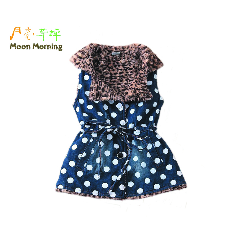 Moon Morning Girls Denim Vest Spring Autumn Long Polka Dot Leopard Print Blue Brand Designer Children Clothes 2016 New 3T~14T - store