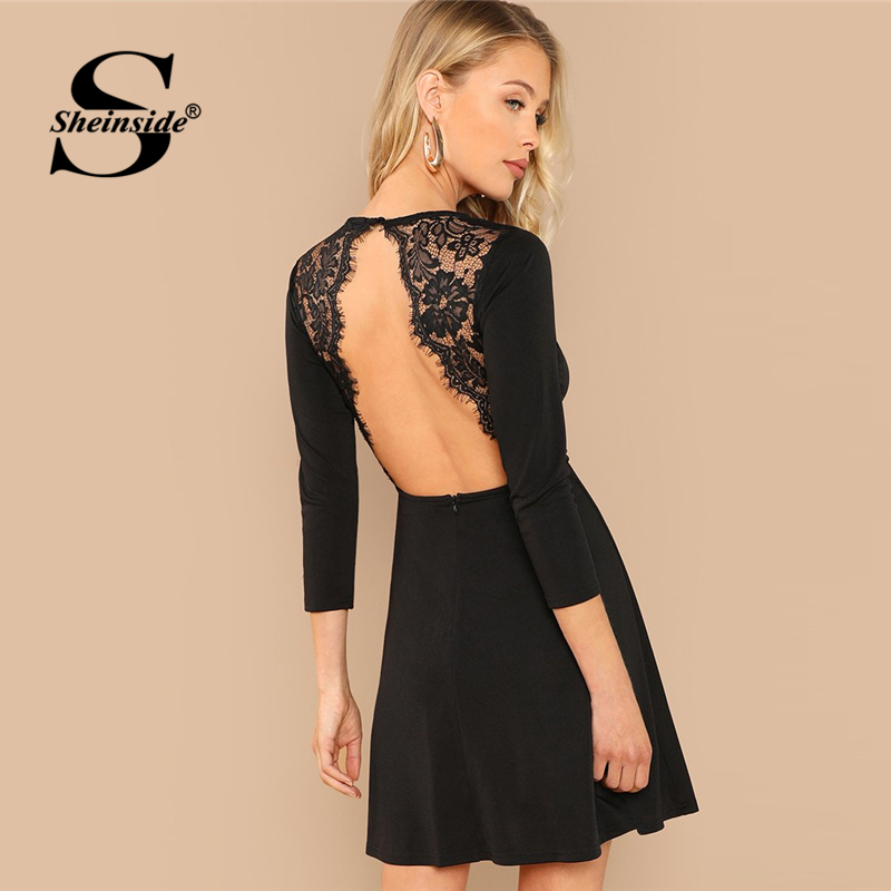 965071556c Sheinside Black Contrast Lace Backless Summer Sexy Dress Women Long Sleeve  Party Dresses 2019 Ladies Elegant