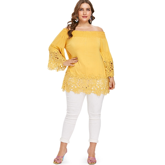 d6e991b5bcc Plus Size Sexy Smocked Off the Shoulder Lace Crochet Tunic Top Bell Flare  Sleeve Ruffle Blouse Women Big Size Office