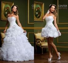 2014 New Elegant Detachable Two Pieces Beautiful Sweetheart Flower Garden Bridal Gowns A-line Ruffles Organza Wedding dress