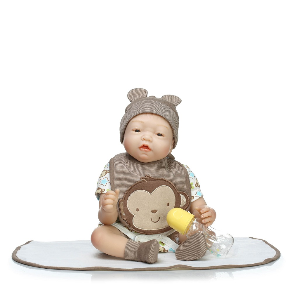 """22"""" handmade silicone baby-reborn dolls real newborn baby looking soft touch children poupee gift"""