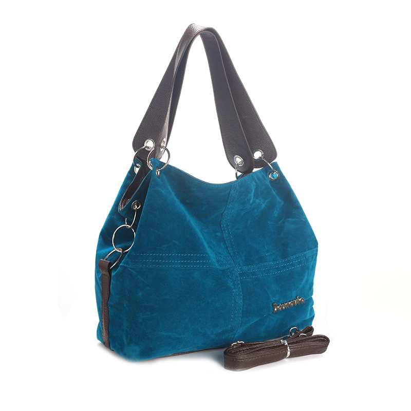 Daunavia фирменные сумки из натуральной кожи женские большие сумки Высокое качество Женские сумки через плечо, сумки с высокой ручкой, из мягкого вельвета винтажная Сумка-тоут - Цвет: Синий