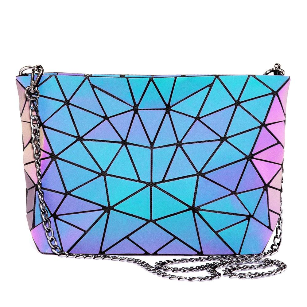 Fashion Handbags Purses Wallet Reflactive-Crossbody-Bag Holographic Geometric Luminous