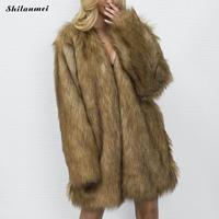 2017 neue Winter-Frauen Warm Faux Pelzmantel Frauen Vintage Braun Farbe Nerz Fuchs Einfache Mode Oberbekleidung Jacke Plus Größe