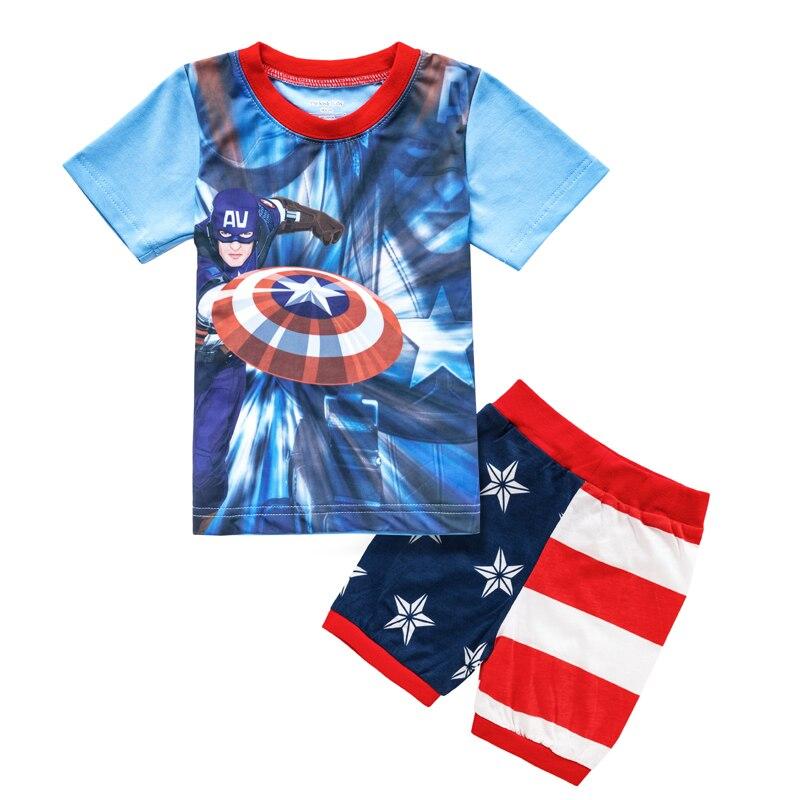 f7497127a1417 Été Captain America T Shirt ensemble short et haut bébé garçons filles  bande dessinée Superman vêtements ensemble pyjamas pour enfants pyjamas  ensembles ...