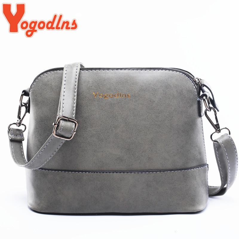 Yogodlns New fashion women's messenger bag scrub shell bag Nubuck Leather small