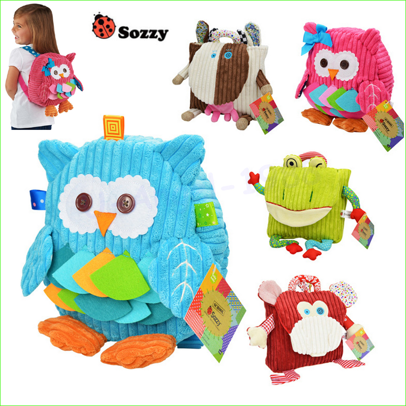 1pcs Sozzy Cute Kid Plush School Backpacks 25cm Animal Figure Bag Kid Girls Boys Gifts Toy Owl Cow Frog Monkey schoolbag