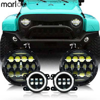 Marloo LED 7 Inch 75W Headlights White DRL 4 LED Fog Light DRL Combo Kit For
