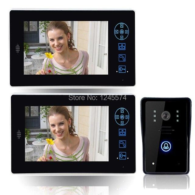 """2.4G 7"""" TFT Wireless Video audio Door Phone Intercom Doorbell Home Security 1 Camera 2 Monitor"""
