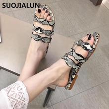 SUOJIALUN 2019 Women Leopard flat sandals Summer Slippers Flat Home beach Slides Shoes Woman Sandals
