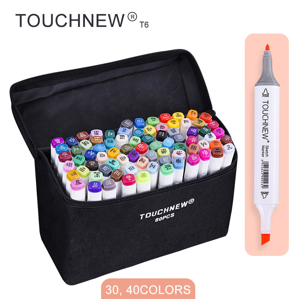 TOUCHNEW T6 30/40 colors dual tips white barrel sketch markers black bag for drawing painting design manga  art supplies touchnew t6 60 80 colors dual tip black barrel sketch markers camouflage bag for drawing painting design manga copic