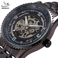 SHENHUA Skeleton Watches Men Stainless Full Steel Strap Male Fashion Clock Relogio Masculino Men's Automatic Mechanical Watch