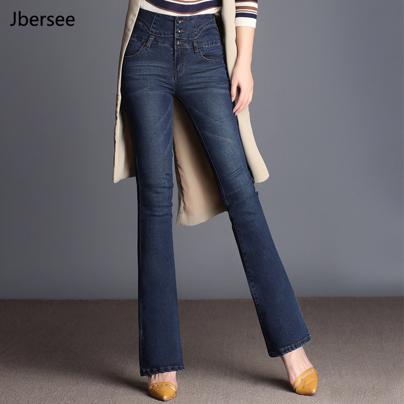 Spring Autumn High Waist   Jeans   Women's New Casual Denim Flare Pants Fashion Stretch   Jeans   woman   Jeans   Plus Size