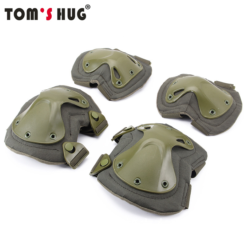 Tom's Hug US Army Military Tactical Knee Pads Airsoft Elbow Support Paintball CS Equipment Kneepad War Game Knee Protector Set