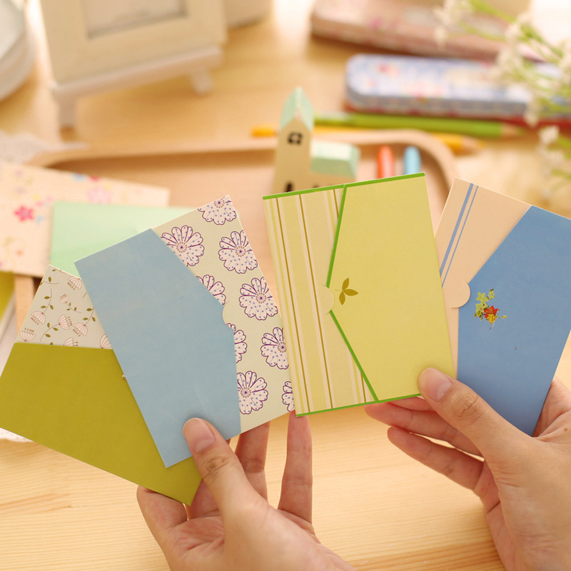 Free Ship!1lot=20set(120pc)!Small Fresh Pastoral Mini Creative Paper Envelope / Message Card/greeting Holiday Festival Card