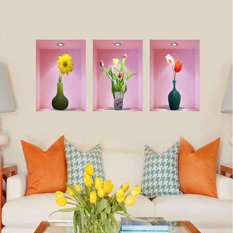3Pcs/Set 3D Simulation Bottles of Flower Wall Background Decoration ...