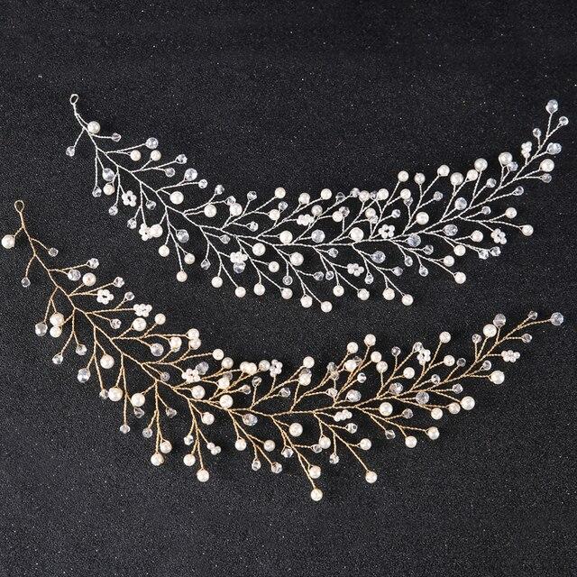 Fashion Crystal Headband tiara Bride Hair Accessories Handmade Gold Silver Simulated Pearl Bride Wedding Headpieces Hair Jewelry