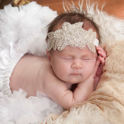HOT Baby Girls Adults Toddler Crystal Flower Leaf Christening Bridal Elastic Headband Hair Band Photography Props