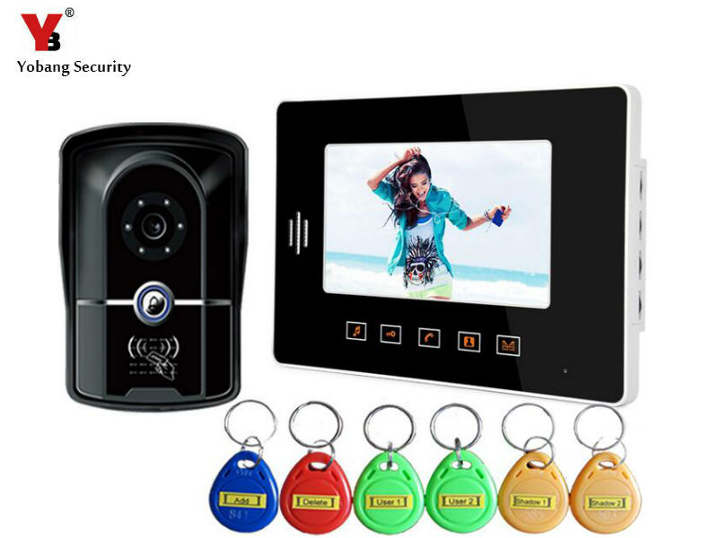 Yobang Security 7 inch RFID Touch Key Doorbell Kits Apartment Intercom Entry System Wired Video Door Phone Door Monitor System Yobang Security 7 inch RFID Touch Key Doorbell Kits Apartment Intercom Entry System Wired Video Door Phone Door Monitor System