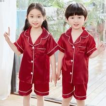 Купить с кэшбэком New 2019 Summer Girls Pajamas Silk Children Pijamas Suit Pure Pajama Gift for Children's Day Boys Comfortable Kids Lounge