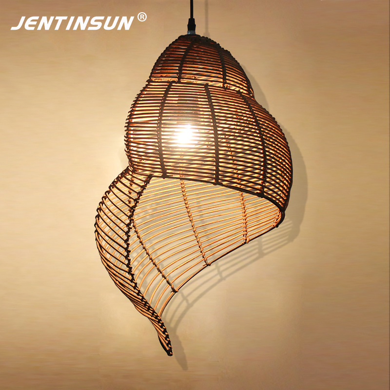 Southeast Asia River Snail Rattan Style Pendant Light Simple LED Conch Home Decoration Fixture Lighting for Bar Living Room asia home кан джо традиционный столик