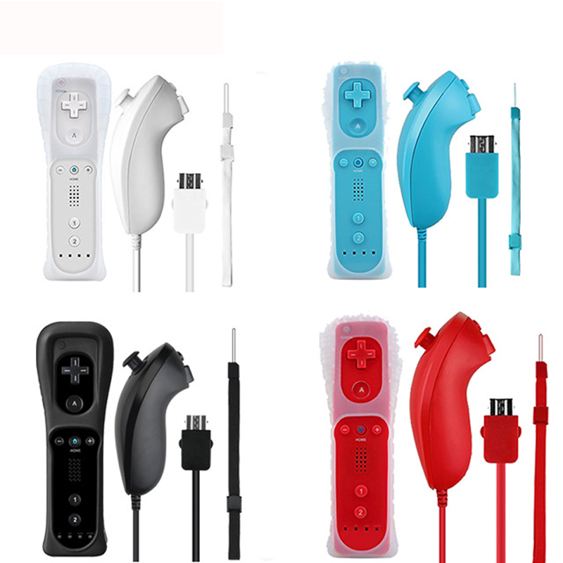 ViGRAND 2017 nuovo 1 set 2 in 1 Controller Nunchuck A Distanza con Costruito in Motion Plus per Nintendo Wii Controller Gamepad