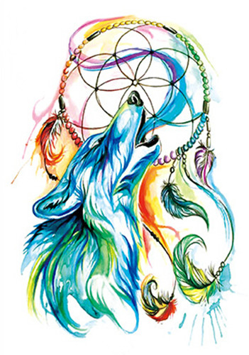 d9c189af37269 Waterproof Temporary Fake Tattoo Stickers Blue Green Wolf Dream Catcher  Design Body Art Make Up Tools