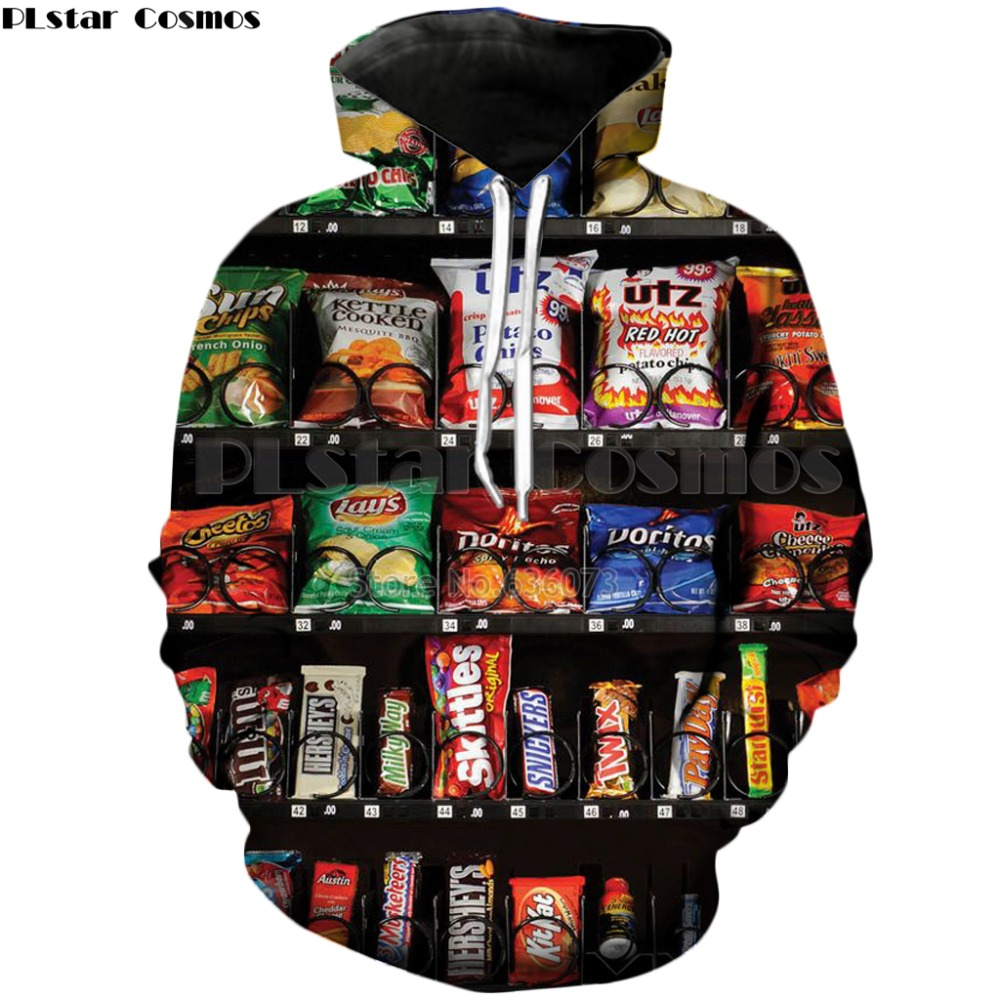 PLstar Cosmos Delicious Food French Fries/chocolate/chicken 3D Print Hoodie 2018 New Style Fashion Mens/Womens Hooded Sweatshirt