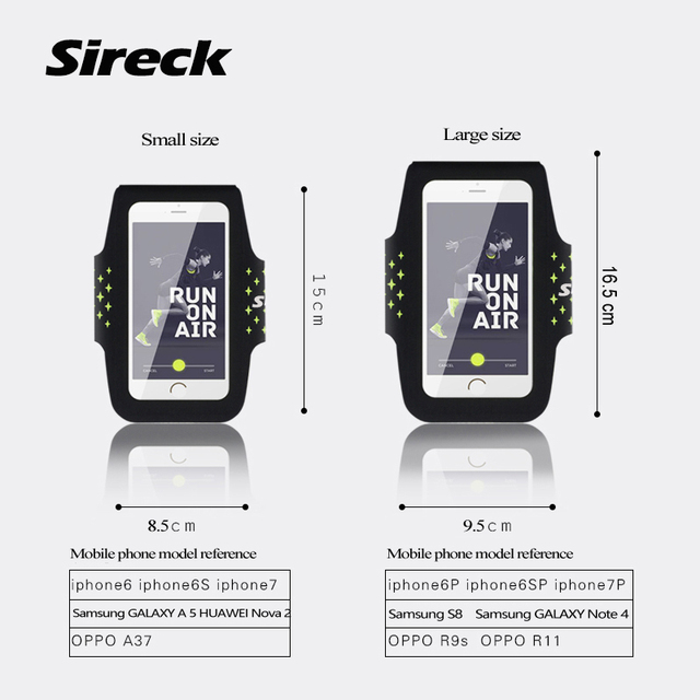 """Sireck Running Bags Touchscreen 5.0"""" 5.8"""" Armband Phone Waterproof Arms Bag Accessories Gym Sport Fitness Jogging Run Bag 45 cm 5"""