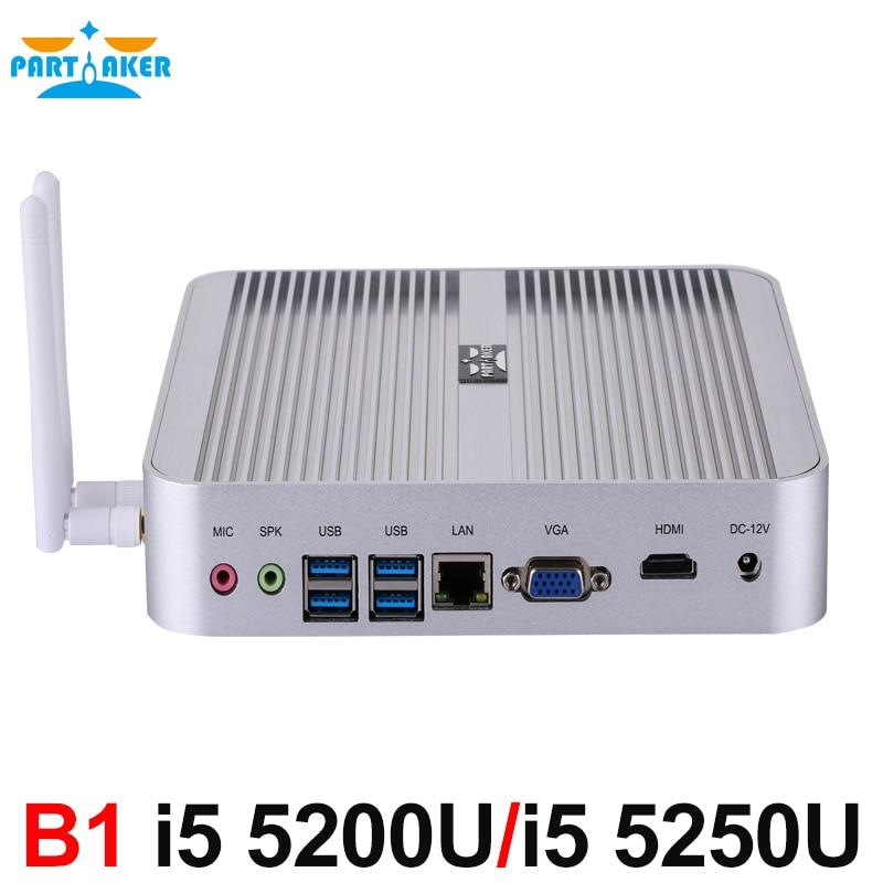 Windows 10 Mini PC With Core I5 5200U I5 5250U Dual Core Fanless Nuc HTPC Intel HD Graphics 5500/6000 4K TV Box