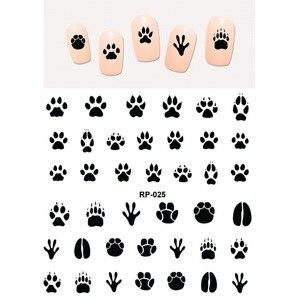 Image 1 - 네일 아트 뷰티 워터 데칼 슬라이더 네일 스티커 동물 애완 동물 발톱 발 발 프린트 스위트 하트 블랙 고양이 RP025 030