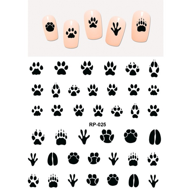 네일 아트 뷰티 워터 데칼 슬라이더 네일 스티커 동물 애완 동물 발톱 발 발 프린트 스위트 하트 블랙 고양이 RP025 030