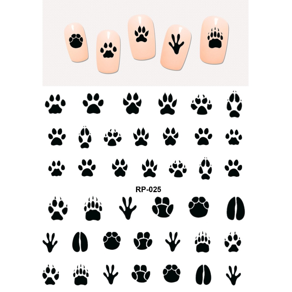 NAIL ART BEAUTY WATER DECAL SLIDER NAIL STICKER ANIMAL PET CLAW PAW FOOT PRINT SWEET HEART BLACK CAT RP025-030 nail art beauty nail sticker water decal slider cartoon animal claw paw foot print rp025 030