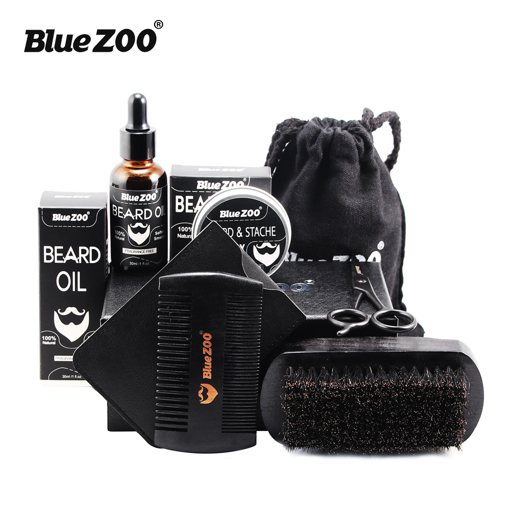 Black 7pcs/set Beard Care for Men Beard Oil Kit with Beard wax, Brush, Comb, Scissors Grooming & Trimming Kit Male Beard Care
